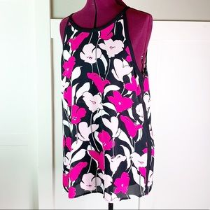 Vince Camuto floral pink blousy tank L